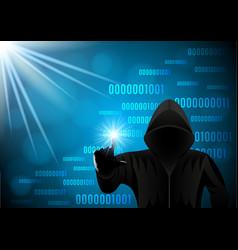 Hooded man hacker on a digital background vector