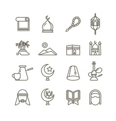 Islamic religion thin line icons vector