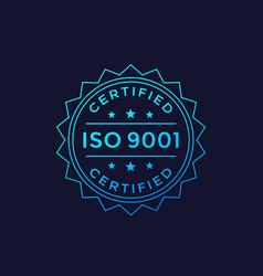 Iso 9001 badge design label vector