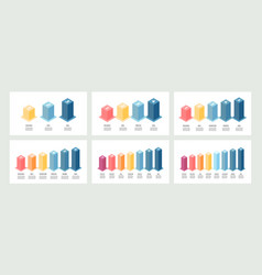 isometric infographics bar chart graph with 3 4 vector image