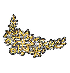 lace decorative element with gold flowers vector image