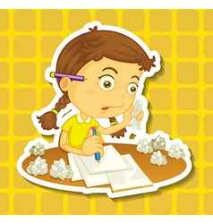 Little girl writing on paper vector