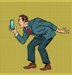 Man funny photographs smartphone vector