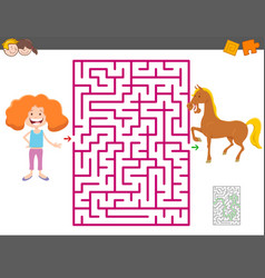 Maze game with cartoon girl and horse vector