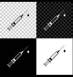 Medical syringe with needle and drop icon vector