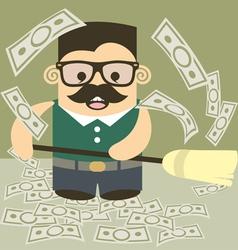 Money broom vector image
