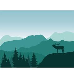 Mountains deer vector