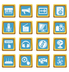 multimedia internet icons set sapphirine square vector image