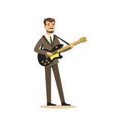 musician man wearing a classic suit playing guitar vector image