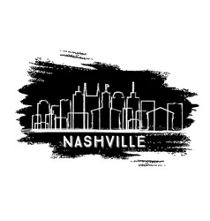 nashville tennessee city skyline silhouette hand vector image