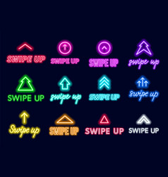 Neon sign swipe up button for stories in the vector
