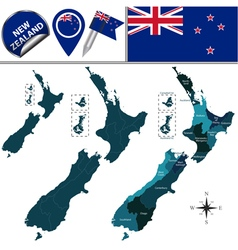New Zealand map with named divisions vector