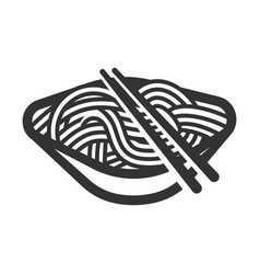 Noodle black line art icon delicious cooking vector