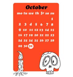October calendar with skull vector