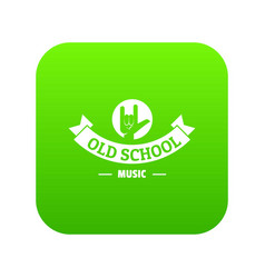 old school music icon green vector image