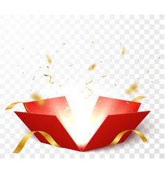 open box with gold confetti vector image