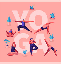 people doing yoga exercises fitness workout in vector image