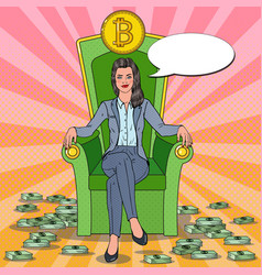 Pop art business woman sitting on throne bitcoin vector