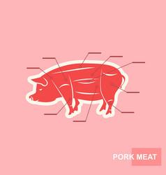 poster cut of pork meat set vector image