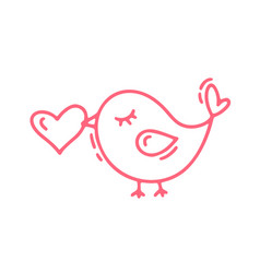 red monoline cute bird with heart vector image