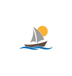 regatta yacht sealing with sun and sea logo design vector image