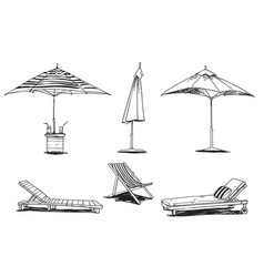 set caise lognue chairs and umbrellas pool vector image