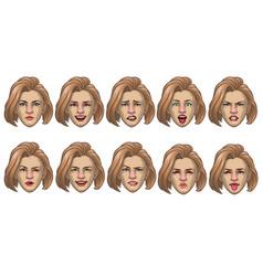 set caucasian women head in various face vector image