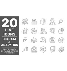 set data and web analytics related line vector image