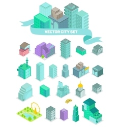 set isometric city buildings shops park vector image