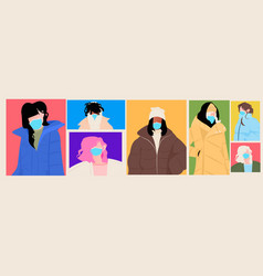 set mix race women in winter clothes wearing masks vector image
