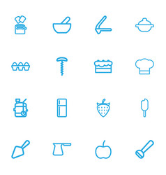 Set of 16 editable cook icons line style includes vector