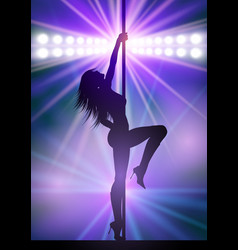 sexy pole dancer under spotlights vector image