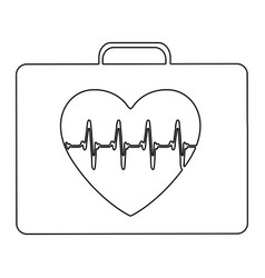 Silhouette firts aid kit with symbol line of vital vector