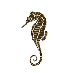 Silhuette of seahorse seahorse made in one color vector