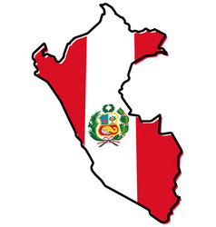 simplified map of peru outline with slightly bent vector image