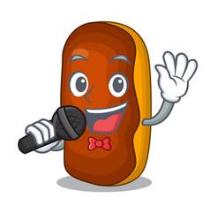 Singing mascot cartoon eclair cake color chocolate vector