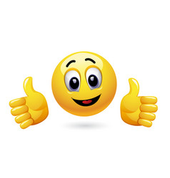 smiley showing thumbs up vector image