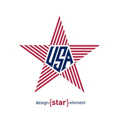star with american flag colors Abstract design vector image