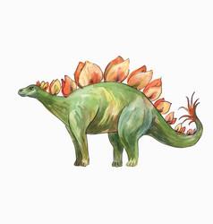 Stegosaurus watercolor drawing vector