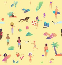 summer beach seamless pattern top view vector image