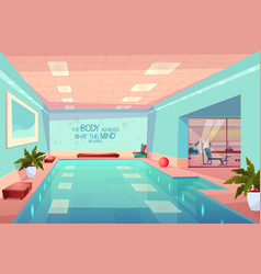 Swimming pool in gym interior empty sport center vector