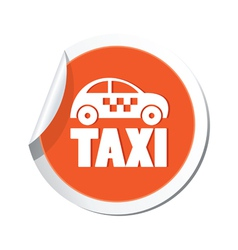 Taxi icon orange sticker vector