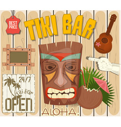 Tiki bar poster vector