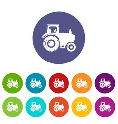 tractor icons set color vector image