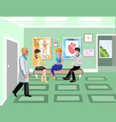 Turn to doctor in hospital concept vector