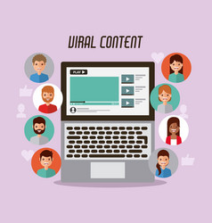 Video marketing viral content people views vector