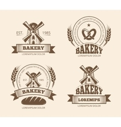 Vintage bakery and bread shop logos labels badges vector image