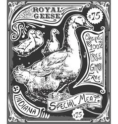 Vintage Goose Advertising Blackboard vector
