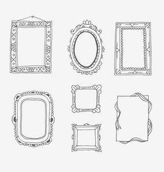 vintage photo frame in doodle style hand vector image