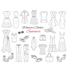 Women clothes collection sketch vector